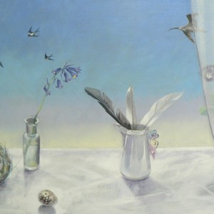 Moira McTague 'Birds flying high...' Oil on wooden panel
