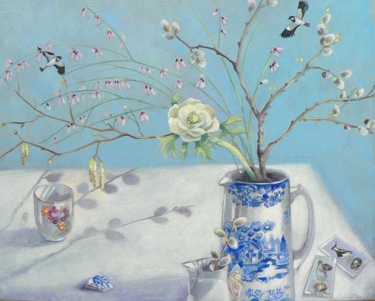 Moira McTague 'Cards on the table' Oil on wooden panel