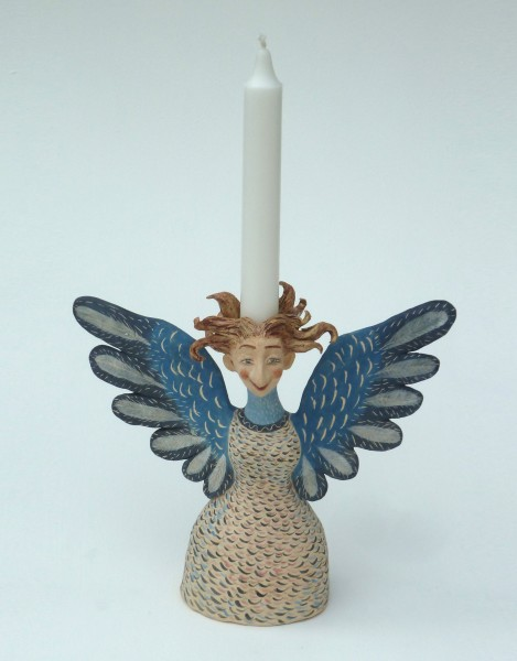 bird woman candle holder