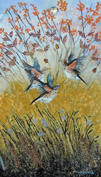 Ingebjorg Smith Autumn Gold Redwings £570 image size 31x56cm