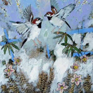 Ingebjorg Smith Spring Sparrows £430 image size 41x26cm approx - Copy - Copy