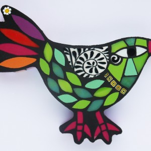 Small Bird (Lime Green and Pink) H12cm W17cm Mixed Media Mosaic RRP £55
