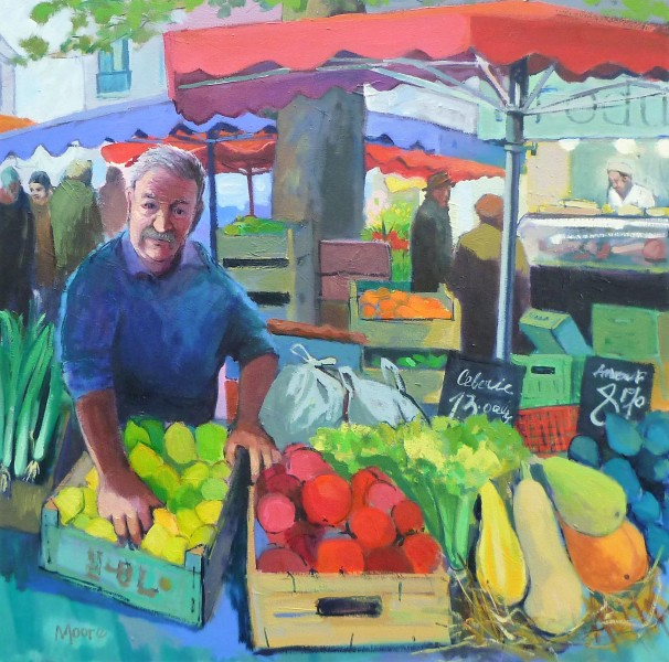 Stall holder at the Croix Rousse. oil. 60x60cm Carol Moore