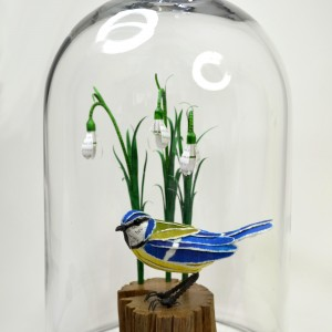bluetit & snowdrops in belljar