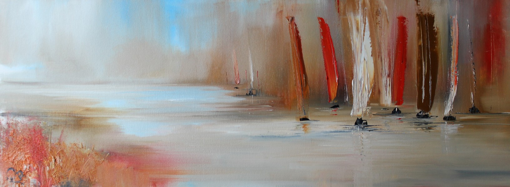 A Rally of sails 80 x 30 cm