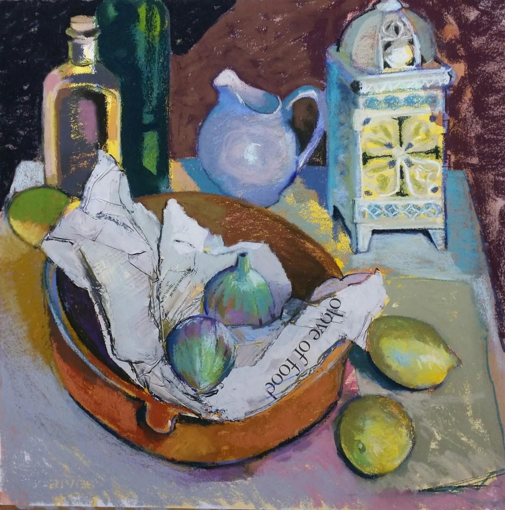 Figs and lemons 53x53cm.pastel Carol Moore