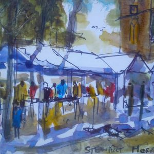 Farmers Market water colour 10x15 cms