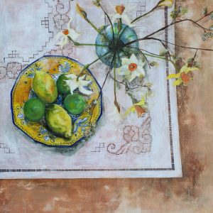 """Lemons and Limes with Daffs and Willow"" 60cms x 60cms"