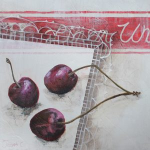 """Trio of Cherries""  15x15cms Mixed media on board £175 Framed floating in limed effect box"