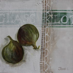 Figs on Green Glass Cloth 15x15cms Mixed Media on Board £175 Floating in limed effect box frame