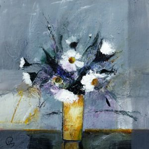 PATRICIA SADLER - DAISIES IN A YELLOW VASE