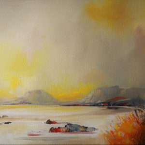Highlands from a distance 80 x 30 cm oil