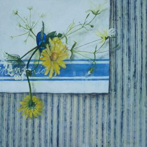 Wild Flowers on Ticking 30x30cms Mixed Media on Board White slip, glazed, limed effect moulding £295