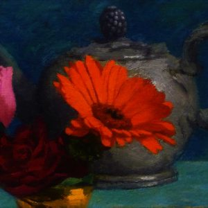 JPRAINE - TEAPOT WITH ORANGE GERBERA