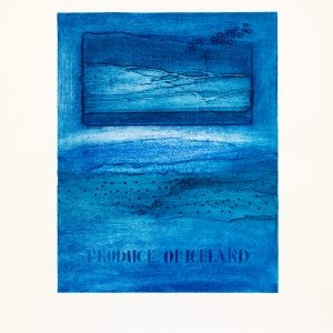 22. Produce of Iceland. Collograph print w_ text.42 x 50cm. (27 x 34). 2015. #5AA7