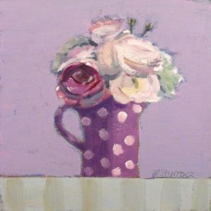 FS PURPLE SPOTTED JUG WITH ROSES