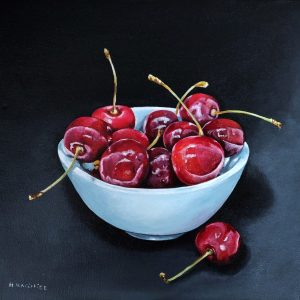 Juicy cherries oil on canvas 30x30cm copy