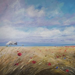 AY White 0320 60 x 60 Bass Rock and Poppies