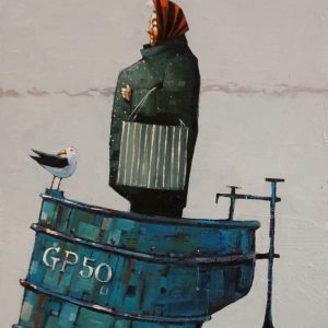 The Birds and The Blue Boat Oil 19x29cm