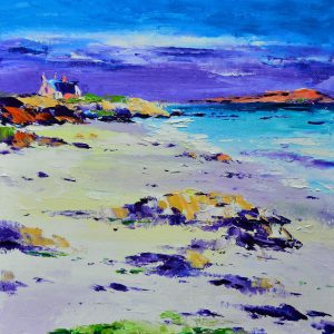 1.Bishop's House from St. Ronan's Bay, Iona, canvas size 30cmx30cm, framed size 43cmx43cm, £299