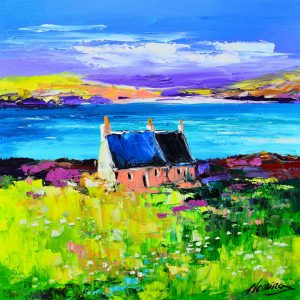 4.Cottages, St. Ronan's Bay, iona, canvas size 30cmx30cm, framed size 43cmx43cm, £299